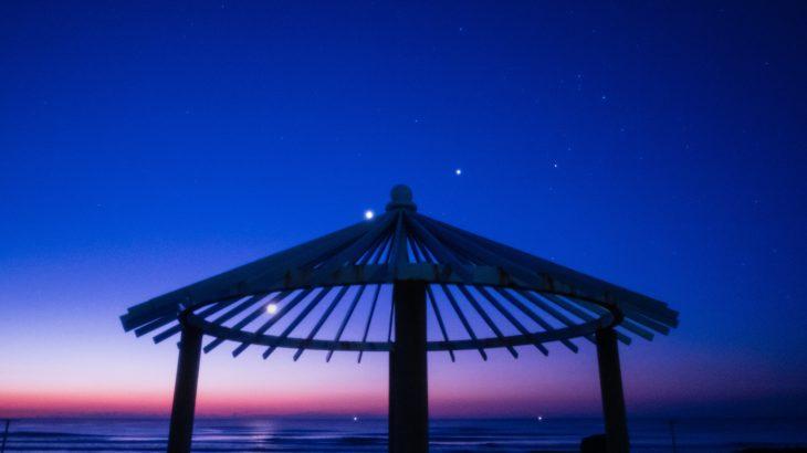 2019年2月2日 九十九里浜で土星、月、金星、木星、そしてさそり座の5つのそろい踏みを撮影